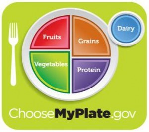 Use the USDA's My Plate icon to create balanced meals (choosemyplate.gov)b