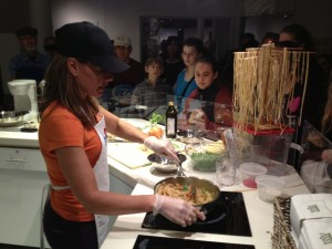 Stacey cooking up Pasta and Sweet Peas at the American Museum of Natural History!