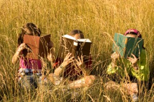 Kids love to read in nature!